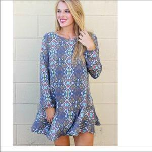 Buddy Love Chyna Gray Print Dress Size L NWT